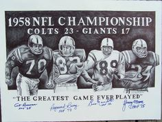 Bardsley Sports Art: 1958 Baltimore Colts Hall of Famers: 2010