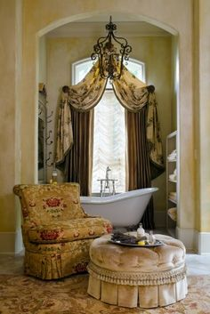 Dramatic Bathroom window treatment...