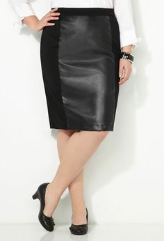 Pleather Ponte Pencil Skirt-- Nice skirt, can be dressed up for an evening out or casual for day with a big comfy sweater or shirt and a vest