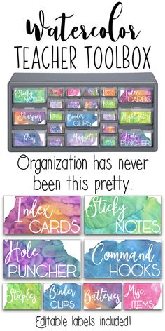 Super pretty watercolor teacher toolbox labels! So great for organizing all those teacher supplies!