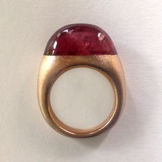GIOIELLI DALBEN Red Tourmaline Satin Rose Gold Ring |http://www.1stdibs.com/jewelry/rings/fashion-rings/