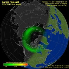Aurora Borealis Ovation forecast model - Northern hemisphere