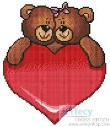 Valentine Bears - cross stitch pattern designed by Tereena Clarke. Category: Valentines.
