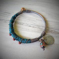 Silk Road Bangle Dark Teal Bracelet Handmade by GypsyIntent Fabric Jewelry, Wire Jewelry, Jewelry Crafts, Jewelery, Ribbon Bracelets, Jewelry Bracelets, Handmade Bracelets, Handmade Jewelry, Silk Bangles