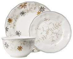 Threshold Snowflake Scallop 12-Piece Dinnerware Set White - contemporary - holiday decorations -  sc 1 st  Pinterest & Paula Deen Green Southern Pine 4-piece Salad Plate Set (4-Piece ...