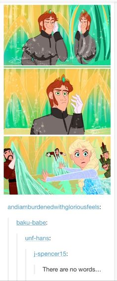 """king hans of arendelle."" (first panel) ""what!"" second 1 ""WHAT?!"" 3rd one"