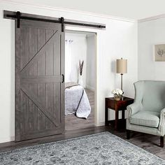 Renin Easy-build Barn-style Door with Hardware Laundry In Bathroom, Basement Bathroom, Bathroom Cabinets, Bathroom Ideas, Barn Style Doors, Barn Doors, Cabin Chic, Rustic Luxe, Rustic Bathrooms