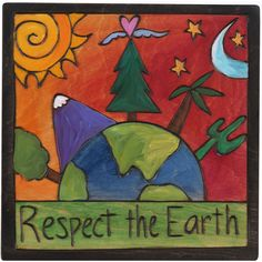 """Sticks creates this artistic one-of-a-kind plaque, constructed of hard wood. Hand drawn whimsical designs are burnt in, and then painted. * A. Small 7""""W. x 7""""H. PLQ001 * B. Large 10""""W. x 10""""H. PLQ010"""