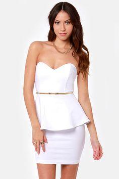 Sexy White Dress - Strapless Dress - Peplum Dress - $40.00