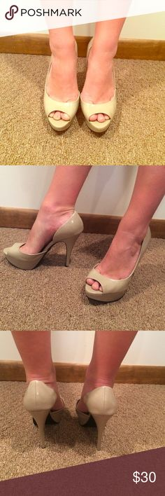 Grey/tan heels 5 1/2 inch heel. Glossy tan heels with a touch of grey. Like new condition. Never been worn. City Streets Shoes Heels