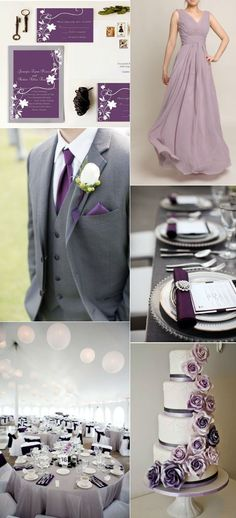 elegant purple and grey wedding ideas