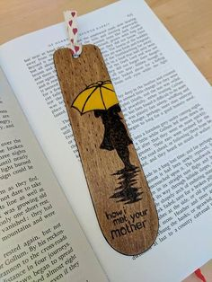 Hand burnt How I met your mother bookmark. Optional quote on the back, or customisation on request. Message me the personalisation when you order :) May vary slightly from the pictures due to being handmade. Length - 18cm Width - 4.4cm Thickness - 1mm
