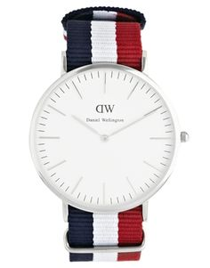 Image 1 of Daniel Wellington Cambridge Silver Canvas Strap Watch Amazing Watches, Beautiful Watches, Daniel Wellington Classic, Rock Around The Clock, French Man, Watches For Men, Unique Watches, Men's Watches, Gentleman Style
