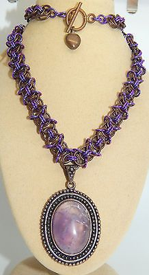 Natural Amethyst & Antique Copper Pendant and hand-made Chain Maille Set