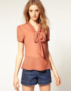 ASOS Short Sleeved Pussybow Georgette Blouse