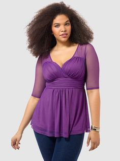 Inspired Illusion Mesh Top.....and it's purple too!!!