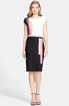 St. John Collection Colorblock Milano Knit Dress available at #Nordstrom