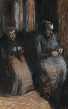 "thunderstruck9: ""Umberto Boccioni (Italian, 1882-1916), Due vecchie sedute [Two old women seated], 1907. Pastel on paper, 69 x 44 cm. """