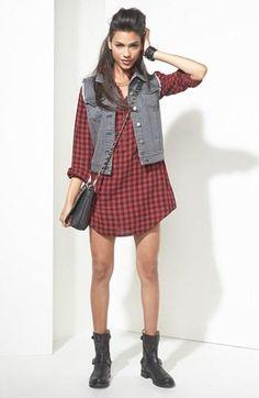 Plaid + denim vest = Back to school style.