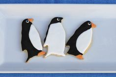 You can't have an anniversary party without party favors! Since the penguin cake was actually a gift from their daughter, I decided to ma. Penguin Cakes, Penguin Party, Cake & Co, Flower Cookies, Cute Penguins, Baby Shower Cookies, Iced Cookies, Holiday Treats, Holiday Recipes