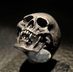 Vampire Skull RingMens Silver Skull Ring Dracula ring by DeadRings