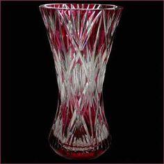Vase en cristal val Saint Lambert-grand vase canneberge signé-PU et numéroté