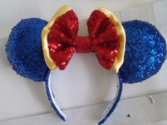"""Super Sparkle Sequin """"Snow White"""" Custom Mouse Ears inspired by Disney by PlayItByEars on Etsy https://www.etsy.com/listing/492737306/super-sparkle-sequin-snow-white-custom"""