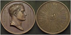 1840 Medallion with spray of Napoleon's victories including Somosierra. Commemorating St. Helena.