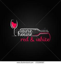 wine glass bottle house design background - stock vector