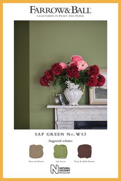 Sap Green is a true reflection of nature, creating a soft, lived-in atmosphere when combined with Broccoli Brown and Deep Reddish Brown. Medan, Eco Friendly Paint, Reddish Brown, Farrow Ball, Paint Finishes, Colour Schemes, Home Living Room, Green Colors, Interior And Exterior