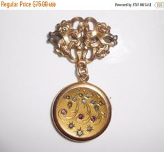 Art Nouveau/Victorian Locket Fob Gold Filled Jeweled