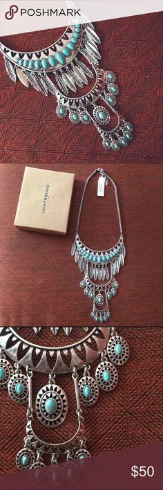 Lucky Brand Southwestern Statement Necklace Stunning layered bib necklace with feather beads and cut out details. Silver with turquoise accents. Southwestern boho vibes. NWT $99 Lucky Brand Jewelry Necklaces