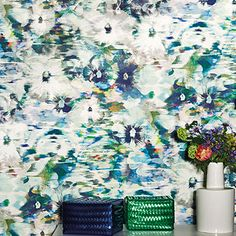 A distinctive floral design that blends contemporary and traditional styles together. Kanzai, from the Romo Black Edition features a multiple pallette of colours that combined, create a calm rippling water effect finish.