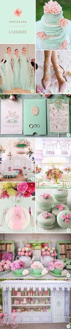 Selecionamos 10 lindas ideias para festa de 15 anos inspirada na Ladurée, a icônica marca francesa de bolos, doces e macarons!