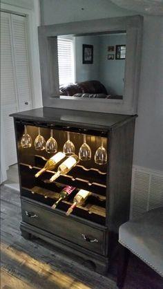 Repurposed Dresser into lighted wine cabinet