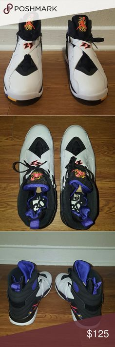 Air Jordan Retro 8 Three-Peat BRAND NEW! NEVER WORN! Pristine condition. These have been stored away since purchased. More detailed photos can be sent upon request. Cardboard interts still intact. Box and wrapping included, as well as receipt of purchase from Shoe Palace. Jordan Shoes Sneakers