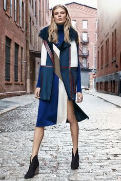 From color-blocked to colorful prints, coats with bright, graphic patterns were a bold pre-fall statement.