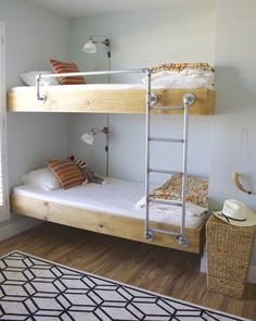 Metal pipes for ladder and bed rail on this bunk bed