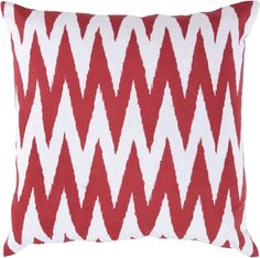 Strawberry Red/White Zig Zag Pillow