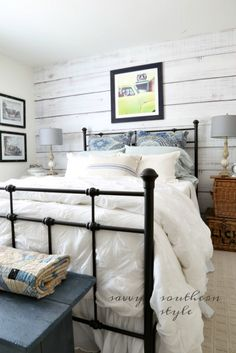 Removable plank wall...it's actually wallpaper.  Great for a rental.  Via Savvy Southern Style: DIY Planked Wall Reveal