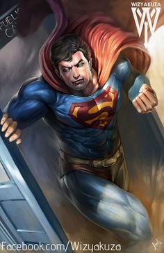 Superman que salen de la TARDIS - tebeos de la C.C. y el Dr. que Crossover - impresión Digital de 11 x 17