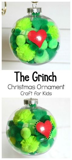 The Grinch Christmas Ornament Craft for Kids: DIY Grinch Ornament using clear plastic bulbs and pom poms. Easy enough for preschool, kindergarten, and on up! Great extension activate to How the Grinch Stole Christmas by Dr. Seuss and perfect activity for Grinch Ornaments, Christmas Ornament Crafts, Xmas Crafts, Party Crafts, Kids Ornament, Easy Kids Christmas Crafts, Clear Christmas Ornaments, Diy Party, Christmas Ornaments For Students