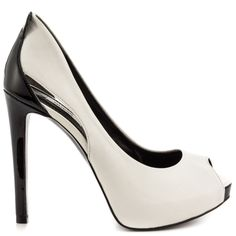 Hip hip hooray to the sultry Harrah by Guess. This classic look features a polished white leather silhouette with cut out details at the side. A peep toe, 4 1/2 inch heel and 3/4 inch platform complete this bold and striking pump.