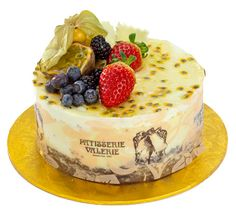 Patisserie Valerie - Special Occasion Cakes - Passion & White Choc Mousse, A chocolate sponge base with layers of dairy cream passion fruit and Belgian chocolate mousses, decorated with a passion fruit glaze.