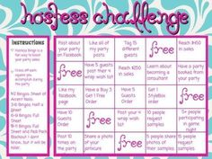 Online Hostess Challenge bingo