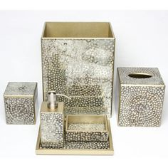 These Chic Vanity Accessories Feature A Metallic Mosaic Pattern In Silver And Gold Tones