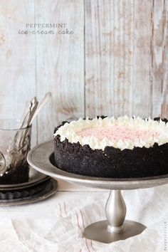 "Easy peppermint ice cream cake. ""Perfect on a cold day with a cup of hot chocolate."""