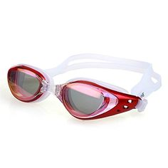 Moolecole Red Fashion Adjustable Unisex Adult AntiFog UV Protection Plating Plain Glass Swimming Goggles Waterproof Swim Glasses ** Details can be found by clicking on the image.(It is Amazon affiliate link)