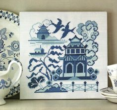 blue willow cross stitch pattern - Google Search