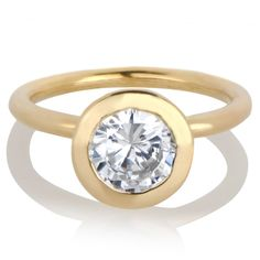 Emitations Goldtone Round Cut Cubic Zirconia Engagement Ring